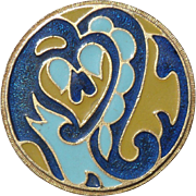 Vintage Estee Lauder Enamel Blue Heart on Goldtone 1960's Powder Compact