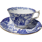 Royal Crown Derby Mikado Asian Blue and White Teacup and Saucer