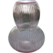 Sweet Vintage Pink Ribbed Glass Tumble Up