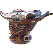 Vintage Barbotine Majolica Fish Shell Nautical Comport