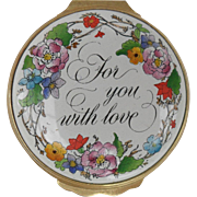 Halcyon Days Enamel For You With Love Floral Pill Box