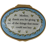 Halcyon Days Enamel Exclusive Mother, Thank you for Giving Me Pill Box