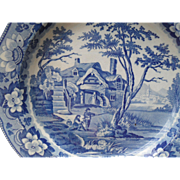 Lovely Antique Davenport 'Rustic Scenery' Rimmed Soup Bowl Plate 1810