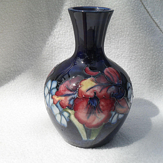 William Moorcroft Orchid Vase Cobalt By Appt Sticker 1928-45