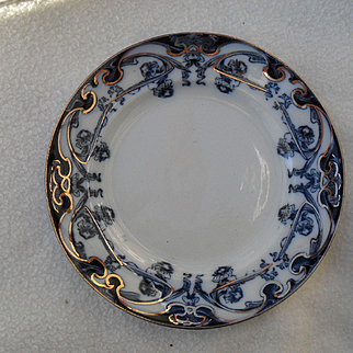 Early Royal Staffordshire Burslem Iris Flow Blue and White Plate 7""