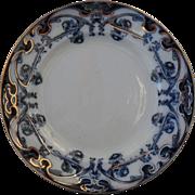 "Early Royal Staffordshire Burslem Iris Flow Blue and White Plate 7"""