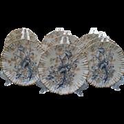 Nine Antique Flow Blue Blush W & R (Carlton Ware) Poppy Gold/Gilt Plate 1890