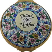 Lovely Halcyon Days Thank You Mother Neiman Marcus Enamel Pill Trinket Box