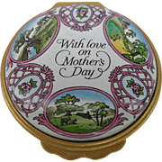 """Beautiful Halcyon Days 'With Love on Mother's Day"""" Enamel Trinket/Pill Box 1994"""