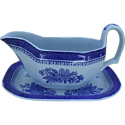 Copeland Spode Blue Fitzhugh Chinoiserie Gravy Boat and Underplate
