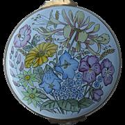 Sweet Crummles England Enamel Floral Pink Trinket Pill Box
