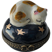 Vintage Limoges Sleeping Cat with Gold Stars Cobalt Blue Pill Trinket Box