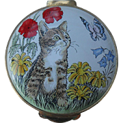 Crummles England Enamel Calico Cat with Flowers and Butterfly Trinket/Pill Box
