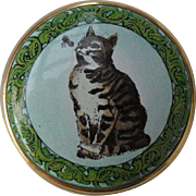 Sweet Halcyon Days England Enamel Pill/Trinket Box Smithsonian Cat Bee Alphabet