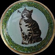 Sweet Halcyon Days England Enamel Pill/Trinket Box Smithsonian Cat Bee Alphabet