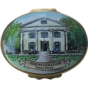 Halcyon Days Enamel Smith College Dewey House Trinket/Pill Box