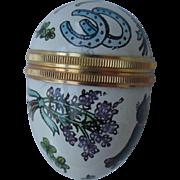 Halcyon Days Enamel Lucky Themed Black Cat Horseshoe Wishbone Pill Egg Box