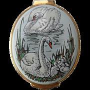 Elegant Crummles Enamel Swans Pond Trinket Pill Box