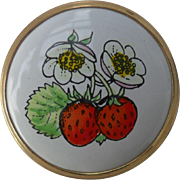 Diminutive Crummles England Enamel Strawberry Pill Box