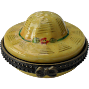 Vintage Limoges Peint Main Sun Hat Figural Trinket Pill Box with Miniature Hat