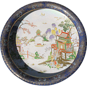 Antique W & R (Carlton Ware) Chinoiserie on Cobalt Blue Gold/Gilt Console Bowl