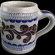 Vintage Blue Salt Glaze German Stein