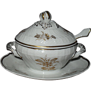 Richard Ginori Italy Miniature Floral Gold White Figural Condiment Tureen with Lid/Spoon