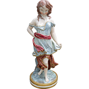 Antique Royal Worcester 'Against the Wind' Young Woman Figurine 1870