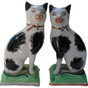 Lovely Pair of Early Staffordshire Cat Figurines