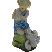 Early Royal Worcester Figurine 'My Favourite' Girl and Rabbits FG Doughty 3014 Blue Dress
