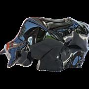 Baccarat Black Crystal Bull Trader Market Figurine Paperweight