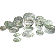 Antique Ridgway Japonica Green Transferware Childs Dinner Set 1840