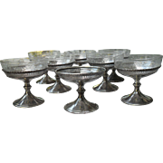 Eight Whiting Sterling Silver Sherbet Dessert Cups with Etched Glass Inserts 1876-1920