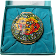 Stunning Tiffany Designed Halcyon Days Enamel Floral Flowers Pill Box with Box