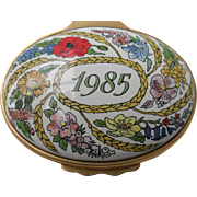 Halcyon Days Enamel 1985 A Year to Remember Floral Pill Box