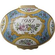 Halcyon Days Enamel 1987 A Year to Remember Floral Pill Box