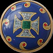 Halcyon Days Enamel Medieval Cross Snuff Pill Box
