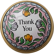 Halcyon Days Enamel 'Thank you' Snuff Pill Box