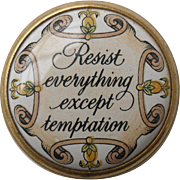 Halcyon Days Enamel 'Resist Everything Except Temptation' Motto Snuff Pill Box