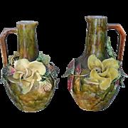 Stunning Pair of Barbotine Majolica Gros Relief Roses Vase Urns
