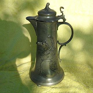 """Kayserzinn German Art Nouveau Horse Pewter Flagon 15"""""""