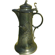 Kayserzinn German Art Nouveau Horse Pewter Flagon 15""