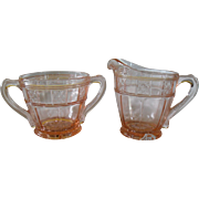 Jeannette Pink Depression Glass Doric Creamer and Sugar