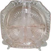 Anchor Hocking Pink Depression Glass Mayfair Open Rose 3-Part Grill Plate