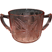 Jeannette Pink Depression Glass Floral/Poinsettia Sugar Bowl