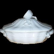 Herend White Porcelain Basketweave Lemon Finial Roses Tureen