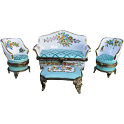 Signed Vintage Four Piece Settee Set HP Limoges Enamel Pill Box