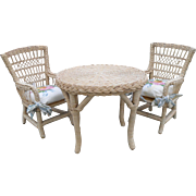 Pleasant Company AG American Girl Samantha Three Piece Wicker Table and Two Chairs