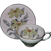 Vintage Handpainted Windsor Yellow Lily Pink Cabinet Teacup and Saucer