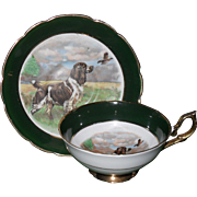Vintage Regency Hunting Retriever Dog and Pheasant Cabinet Teacup and Saucer